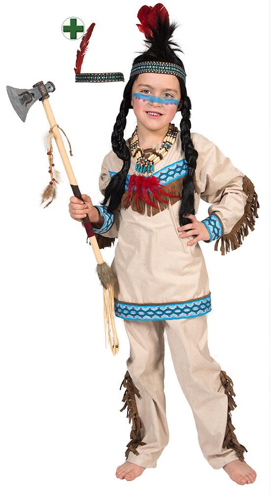 indianer kost m kinder mit stirnband jungen kost m indianer beige blau kost me g nstige. Black Bedroom Furniture Sets. Home Design Ideas