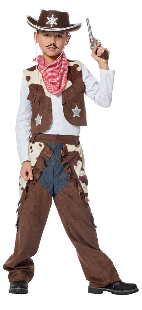 Karneval Klamotten Cowboy Kostum Kinder Jungen Weste Chaps Western