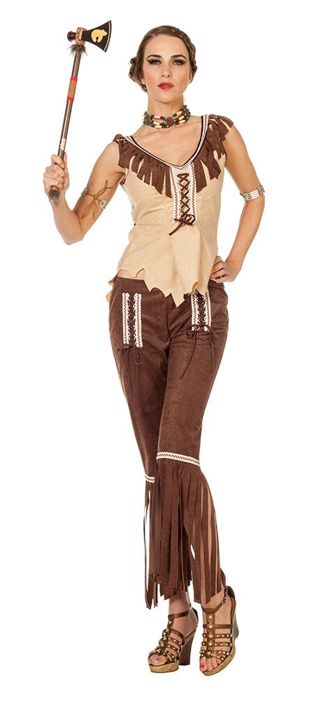 Indianer In Kostum Damen Indianerin Kostume Beige Braun Damenkostum