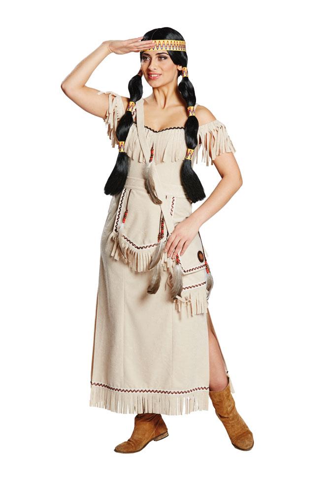 Indianer In Kostum Damen Indianerin Kostume Lang Beige Damenkostum