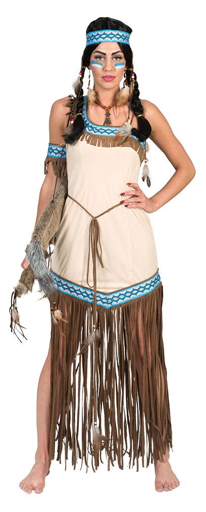 indianer squaw damen kost m indianerin kost m pocahontas beige blau kost me g nstige. Black Bedroom Furniture Sets. Home Design Ideas