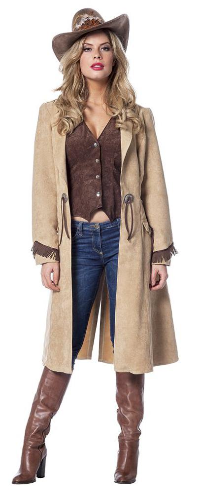 Cowgirl Kostüm Damen Kostüm Cowboy Mantel Wildleder Optik Western