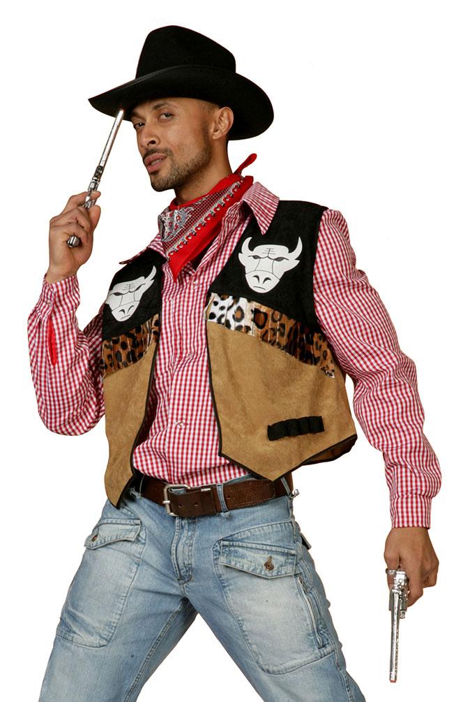 Cowboy Kostum Herren Western Kostum Braun Schwarz Cowboy Weste Kostume