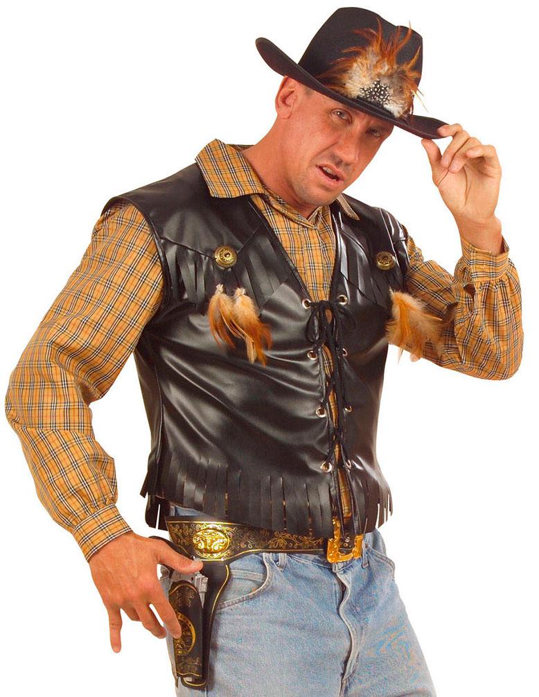 Cowboy Kostum Herren Kunst Leder Cowboy Weste Western Kostum Schwarz