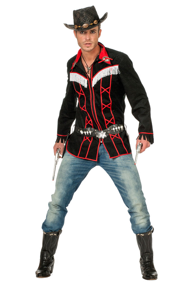 cowboy kost m herren cowboy hemd western kost m rot schwarz kost me g nstige karnevalskost me. Black Bedroom Furniture Sets. Home Design Ideas