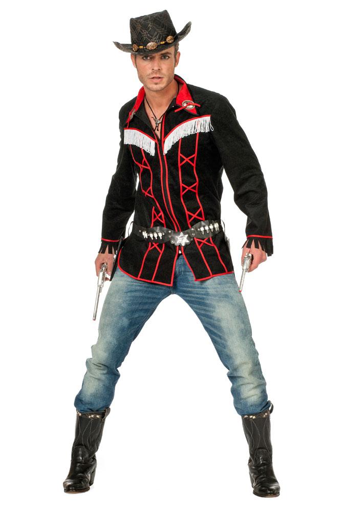 cowboy kost m herren cowboy hemd western kost m rot schwarz kost me. Black Bedroom Furniture Sets. Home Design Ideas