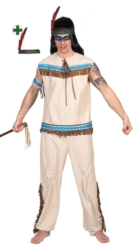 indianer kost m h uptling mit stirnband herren kost m beige blau karneval kk ebay. Black Bedroom Furniture Sets. Home Design Ideas
