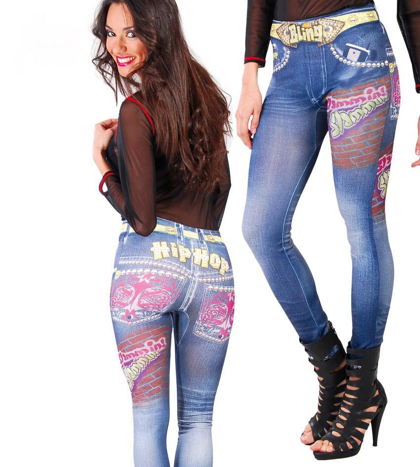 karneval klamotten kost m hip hop damen leggings jeans look hippie karneval ebay. Black Bedroom Furniture Sets. Home Design Ideas