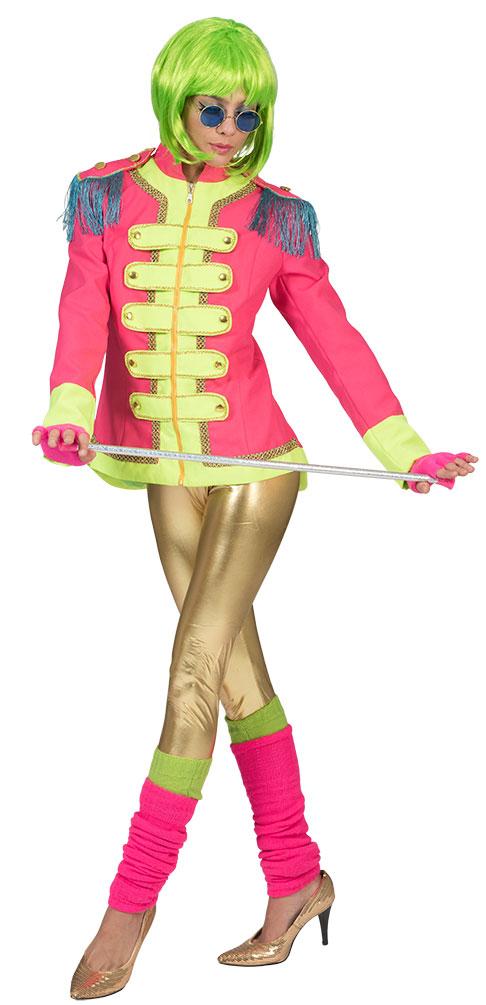 Sergeant Pepper Kostum Damen Beatles Jacke Pink Neon Grun Rockstar