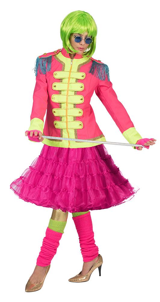 show jacke pink neon gr n mit petticoat luxus pink damen kost m kost me g nstige. Black Bedroom Furniture Sets. Home Design Ideas