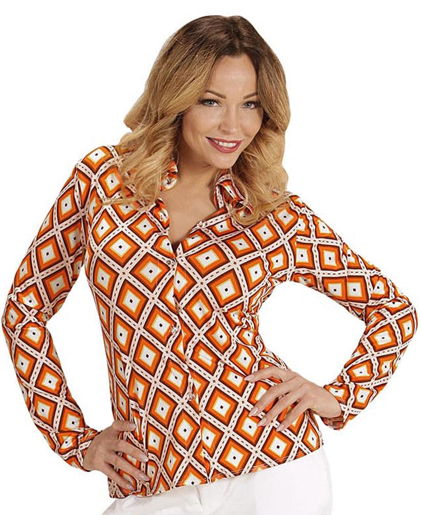 70er jahre damen kost m bluse retro bluse hippie hemd damen orange kost me. Black Bedroom Furniture Sets. Home Design Ideas