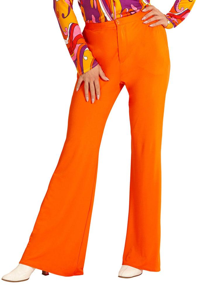 hippie hose damen kost m orange flower power hose 70er 80er jahre schlaghose kk ebay. Black Bedroom Furniture Sets. Home Design Ideas