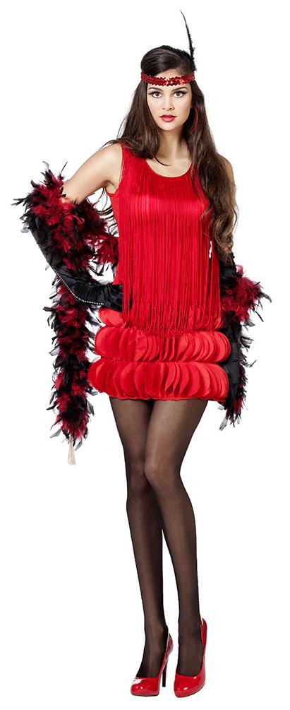 Retro Kostum 20er Jahre Kostum Charleston Rot Mit Fransen Damen