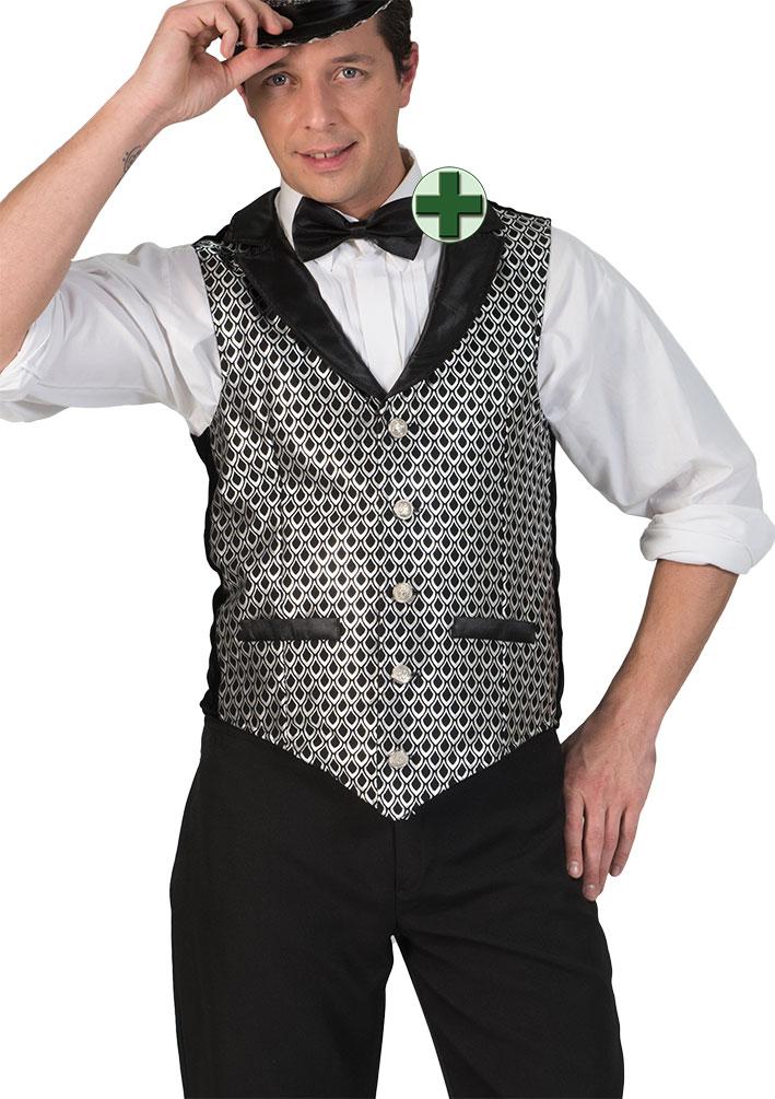 Professionel Neueste Mode große Auswahl Schlager Disco Kostüm Herren Weste Karneval silber schwarz mit Fliege