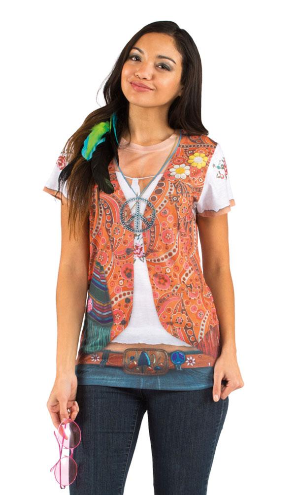3e3ad055579a3 Hippie T-Shirt Kostüm Damen (Kostüme)