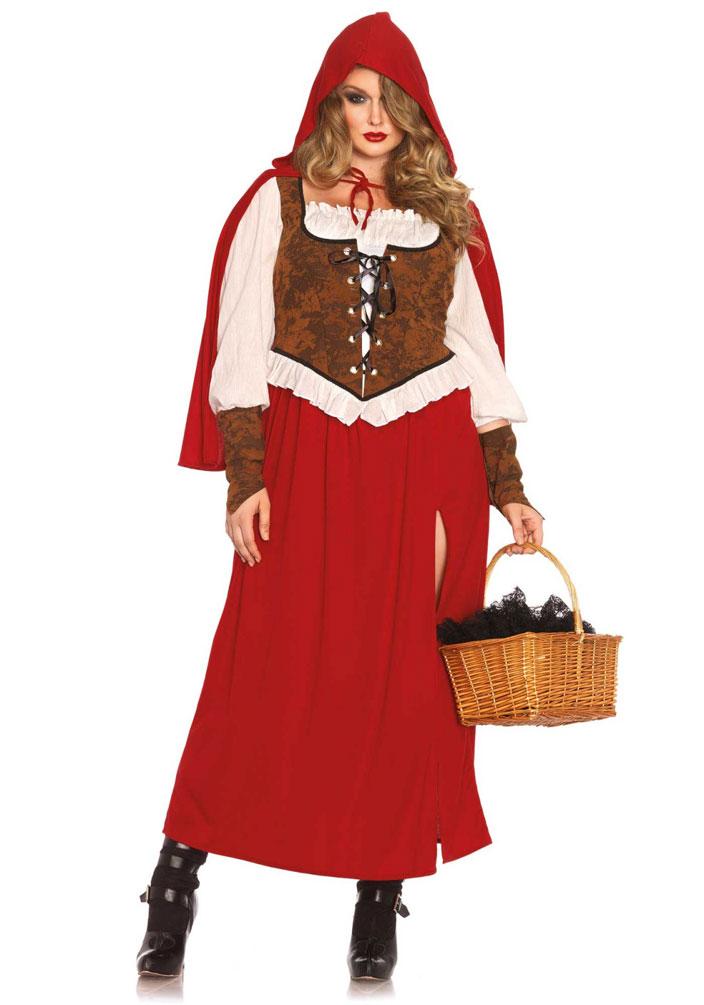 Karneval Klamotten Kostum Rotkappchen Dame Plus Size Luxus Karneval