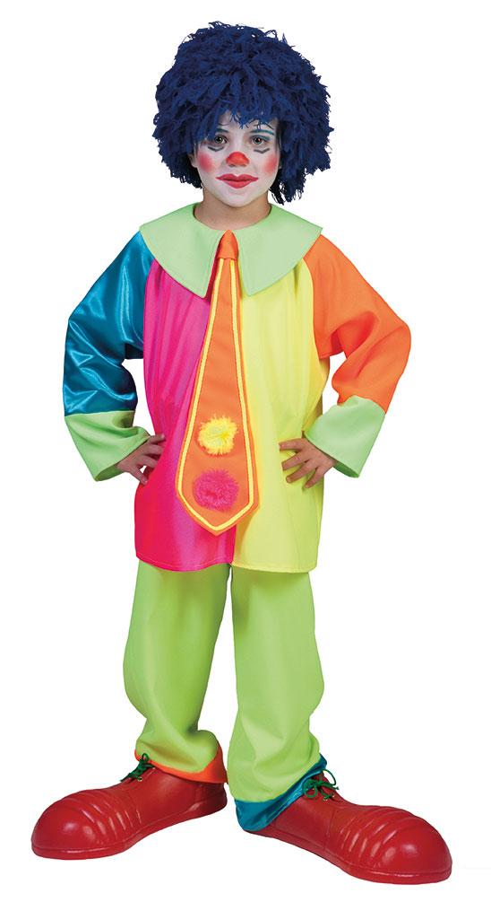 Clown Kostum Kinder Jungen Neonfarben Bunt Riesenkrawatte Kostume