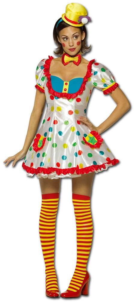 Clown Kostum Damen Frauen Sexy Bunt Gepunktet Kleid Fliege Mini Hut