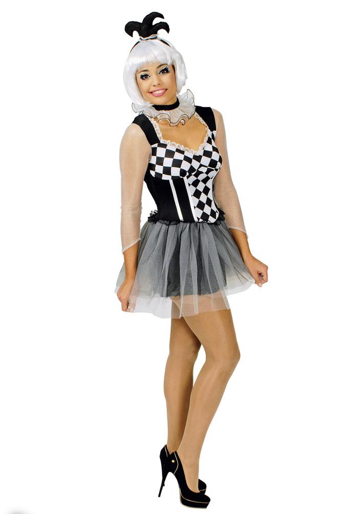 Harlekin Clown Pierrot Frauen Damen Kostum Sexy Schwarz Weiss Kariert