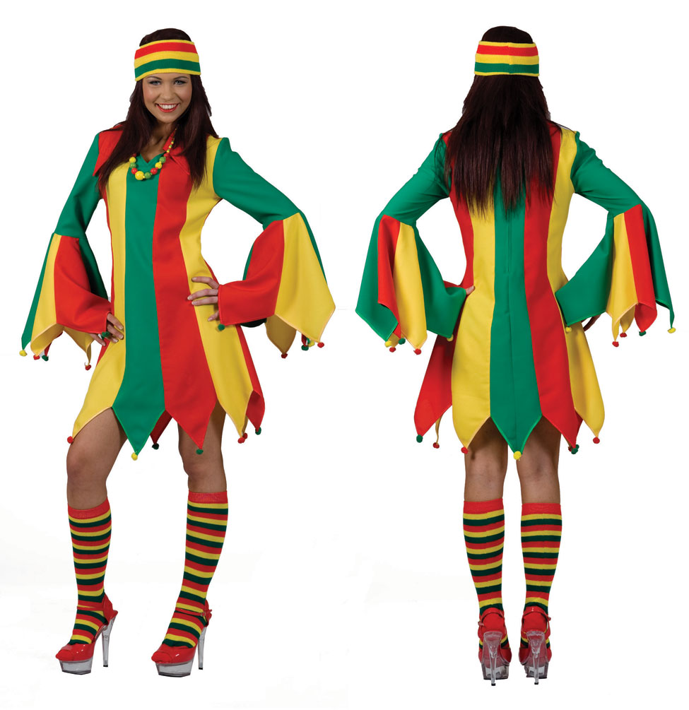 Narren Clown Kostum Damen Frauen Sexy Hofnarr Kostum Gestreift Kleid
