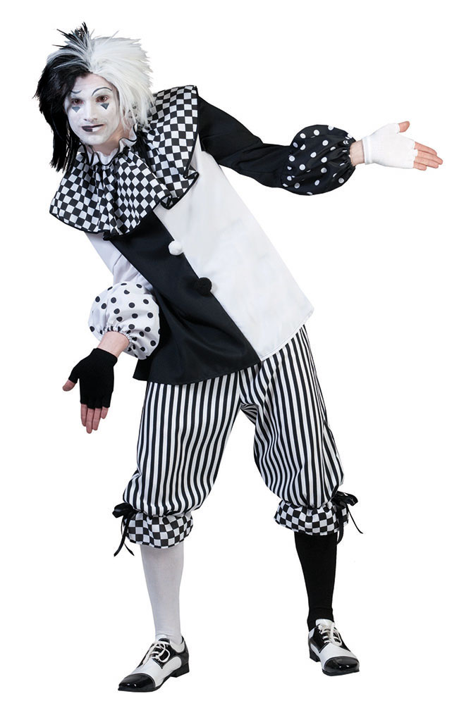 Harlekin Clown Pierrot Herren Kostum Manner Schwarz Weiss Kostume