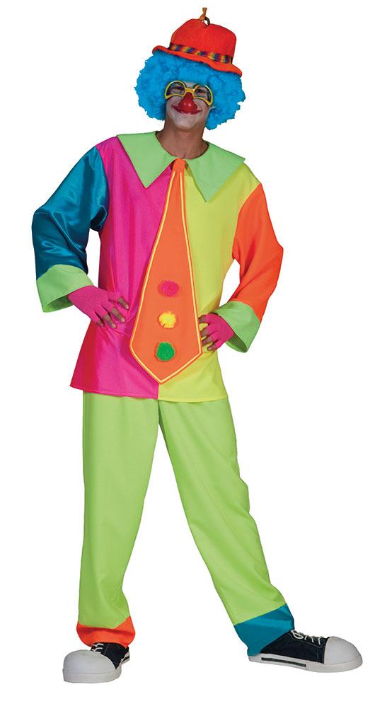 Clown Kostum Herren Kostum Manner Neonfarben Bunt Mit Riesenkrawatte
