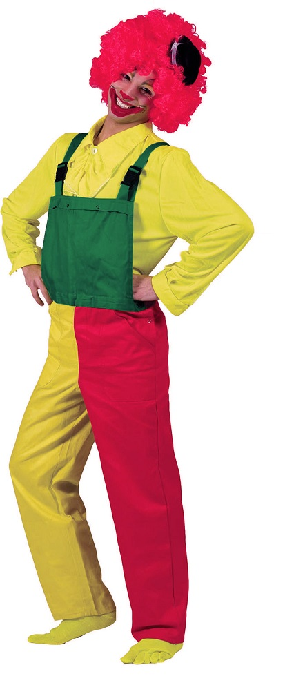Clown Kostum Herren Bunt Rot Gelb Grun Manner Clown Latzhose