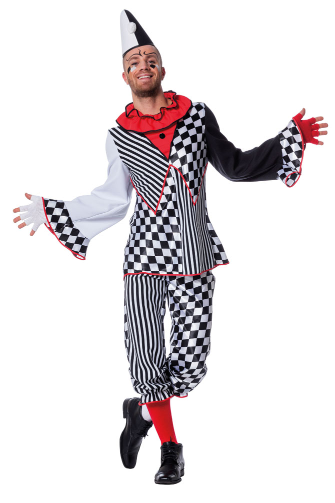 Costume Clown Arlequin Arlequin Arlequin Pierrot Messieurs Fou Clown Costume fou Messieurs Costume KK 3770f6