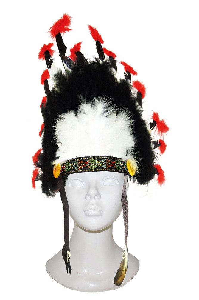 Indianer Kopfschmuck Schwarz Weiss Rot Hute