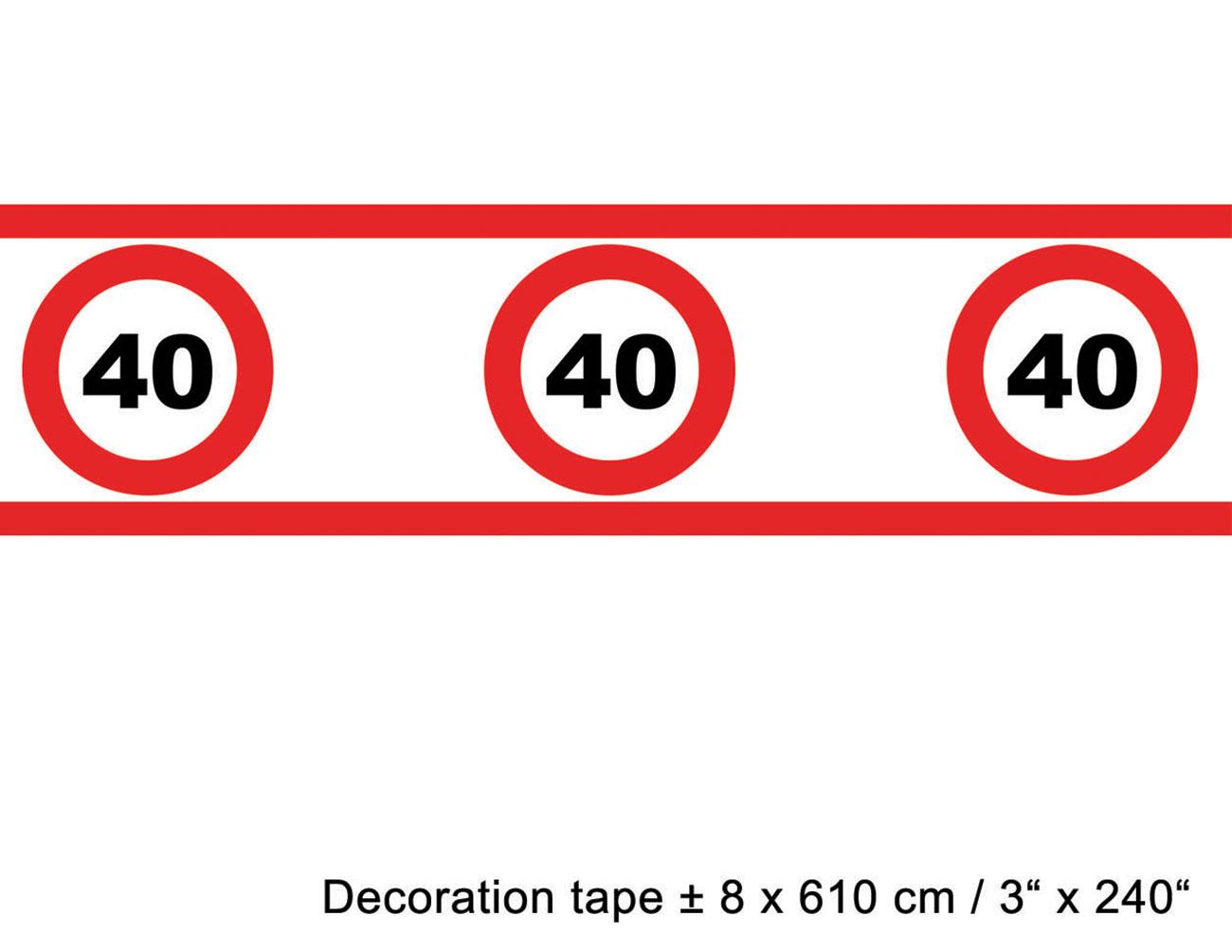 absperrband geburtstag 40 jahre dekoration. Black Bedroom Furniture Sets. Home Design Ideas