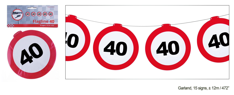 Girlande Geburtstag 40 Jahre Verkehrsschild Dekoration