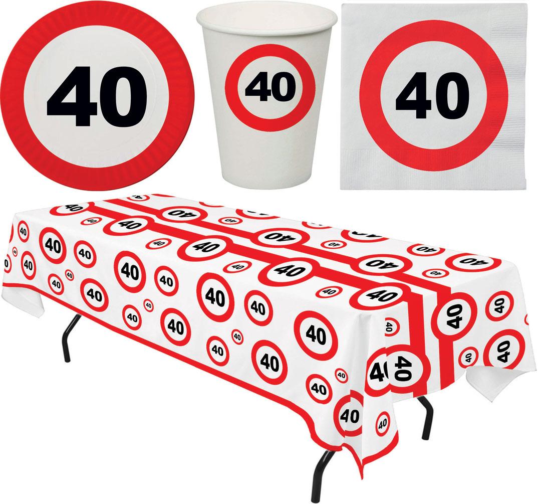 40 Geburtstag Deko Tischdekoration Party Geschirr 8 Pers