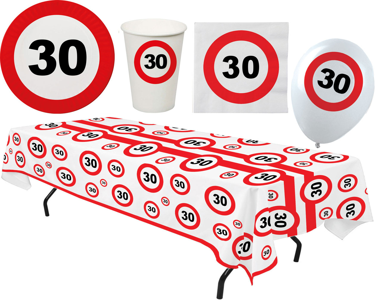 30 Geburtstag Deko Tischdecke Luftballons Party Geschirr Tischdeko