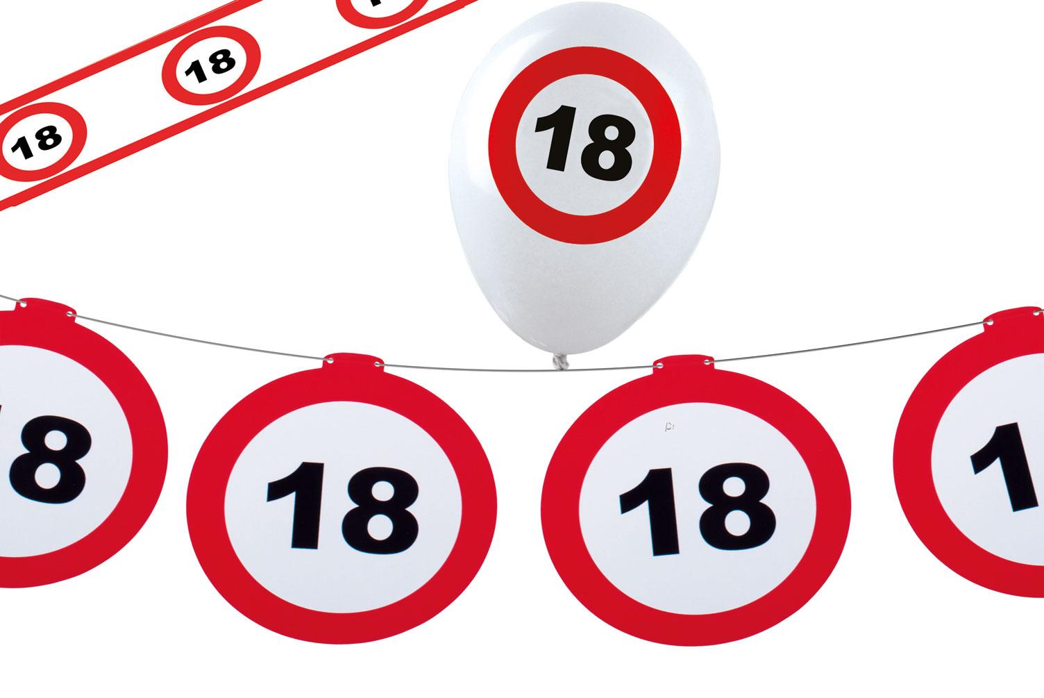 18 Geburtstag Deko Girlande Und Ballons Verkehrsschild Raumdeko