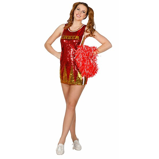 Cheerleader Kostüm Damen Pailletten rot gold