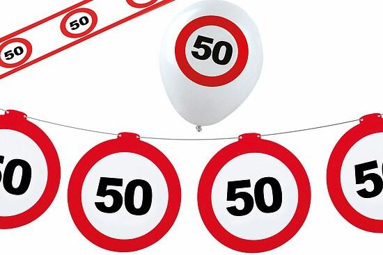 Dekoset geburtstag party 50 jahre verkehrsschild for Dekoration 50 geburtstag party