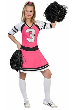 Cheerleader Kostüm Damen pink schwarz Damen-Kostüm Cheerleader-Kleid