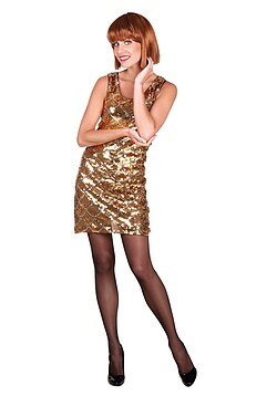 Disco Kostüm Damen 70er Pailletten Kleid gold