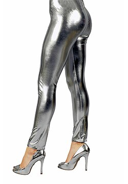 Disco Kostüm Leggings silber Damen