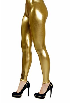 Disco Kostüm Leggings gold Damen