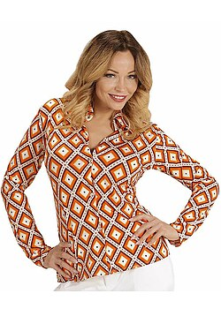 70er Jahre Damen-Kostüm Bluse Retro Bluse Hippie Hemd Damen orange