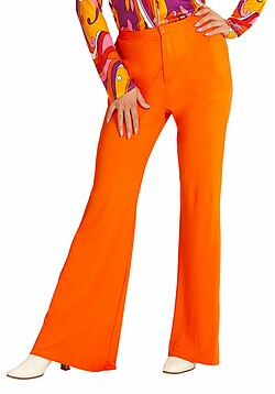 Hippie Hose Damen Kostüm orange Flower Power Hose Damen 70 80er Jahre