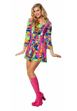 Hippie Kleid Kostüm Damen Flower-Power Damen Peace Kleid Damen-Kostüm