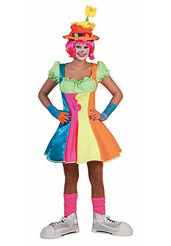 Clown-Kostüm Damen Frauen sexy neonfarben bunt gestreift Clown-Kleid