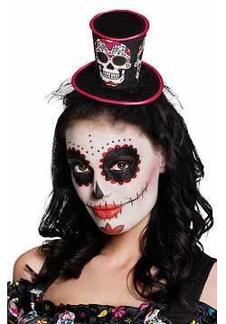 Haarreif mit Hut Totenkopf Day of the Dead