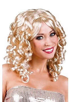 Perücke Dame Locken Karneval blond