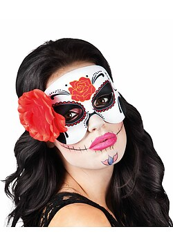 Augenmaske Day of the Dead mit roter Rose Halloween