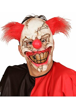 Horror-Clown Maske mit Haar