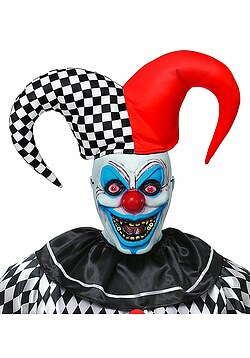 Horror-Clown Maske Narr Halbmaske mit Hut