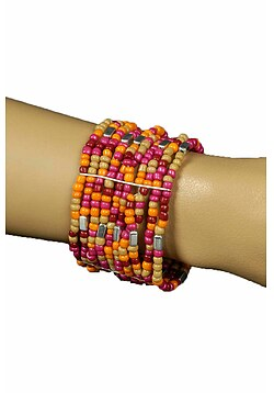 Armband Hippie Damen 60er Jahre perlen orange rot